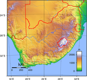 Outline of South Africa - An enlargeable topographic map of South Africa