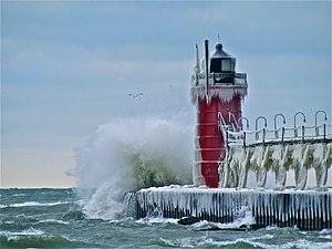 South Haven, Michigan - South Haven Lighthouse, seen in winter