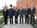 Soyuz TMA-02M prime and backup crews at Kremlin Wall.jpg