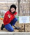 Soyuz TMA-20 Catherine Coleman plants a tree.jpg
