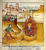 Jan Hus at the stake, Spiezer Chronik 1485