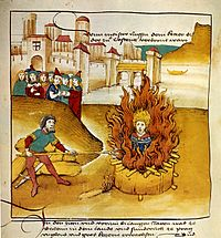 Ejecución de Jan Hus en 1485 quemado en la hoguera.