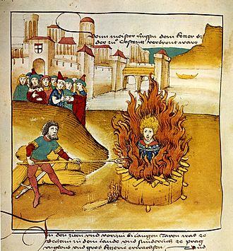 Jan Hus - Spiezer Chronik (1485), Burning of Jan Hus at the stake in Konstanz.