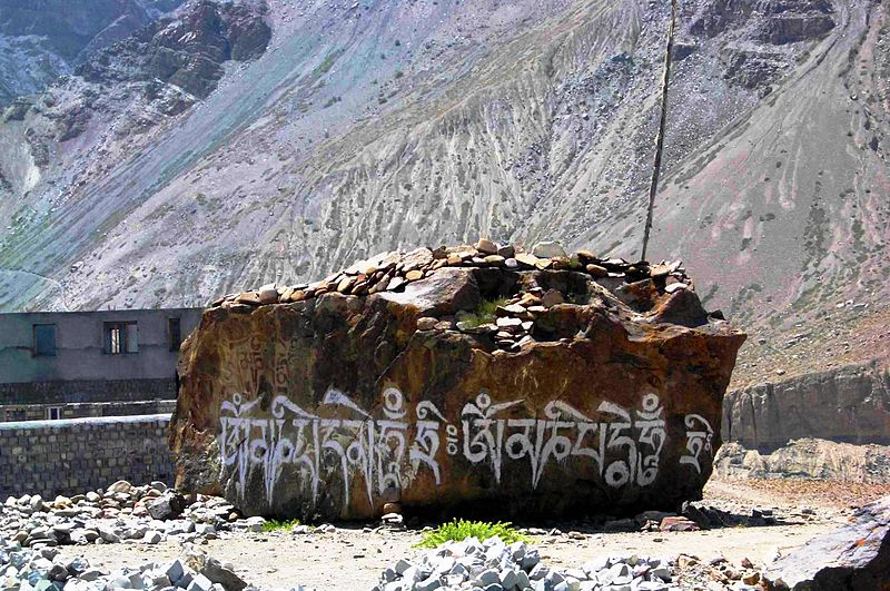 The Sacred Mani Stones of Buddhists 800px-Spiti_-_huge_mani_stone