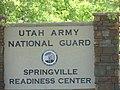 Springville Readiness Center street sign, Aug 15.jpg