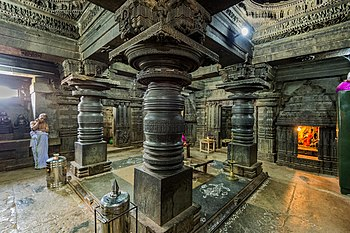 Sri Lakshminarayana Temple , Hosaholalu - Richly Decorated Pillars inside the temple.jpg
