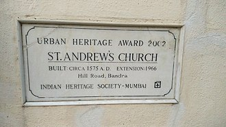 St. Andrew's Church, Mumbai - Heritage Award