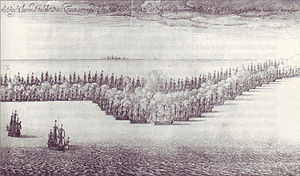 St. James's Day Battle -  St. James Day Fight August 4th, 1666 by Wenceslaus Hollar