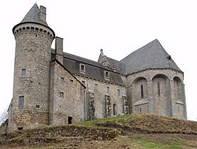 Fortified church in Saint-Angel, Corrèze, France.
