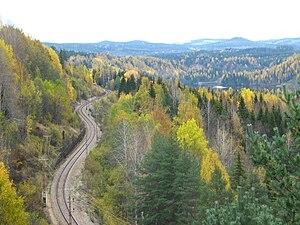Stambanen igennem øvre Norrland ved det Døde fald 20061014. jpg