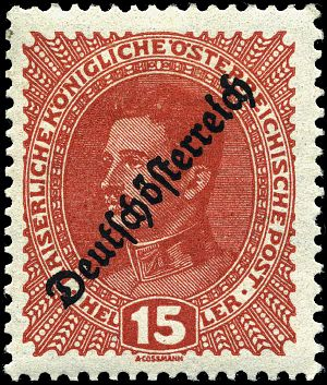 Republic of German-Austria - Image: Stamp Austria 1918 15h