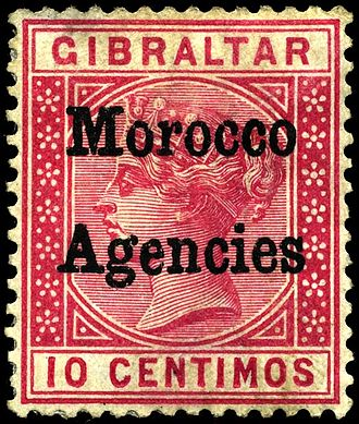 British post offices in Morocco - Overprint on Gibraltar stamp for the British post offices in Morocco, 1898.