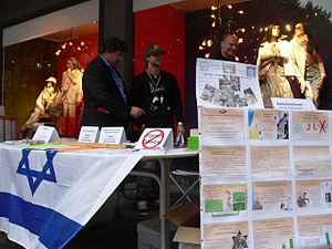 Public diplomacy of Israel - An example of a Hasbara stand.