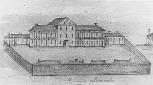 Early Streets of Brisbane - Sketch of the Convict Barracks, Brisbane, 1832