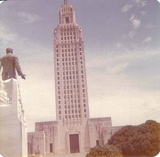 Huey Long - Statue of Huey Long looking toward the state Capitol that he built in Baton Rouge, Louisiana