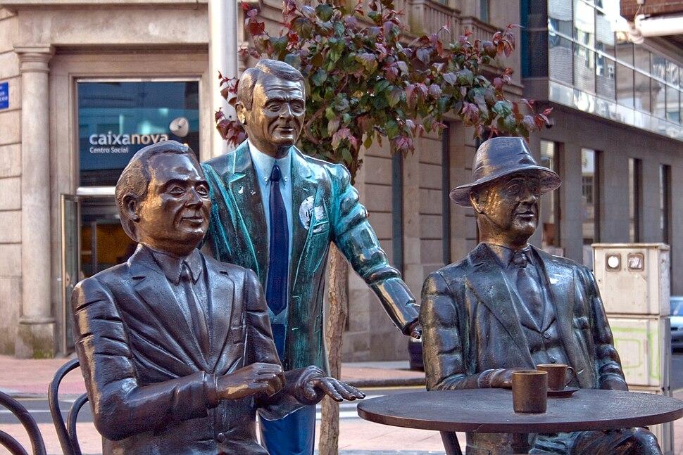Statues of Valentín Paz Andrade, Carlos Casares and Ramón Cabanillas, Pontevedra city, Galicia