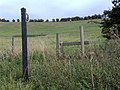 Stile, signpost and footpath, Round Hill Downs - geograph.org.uk - 239427.jpg