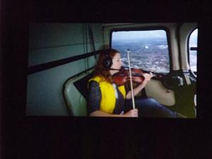 Helikopter-Streichquartett - Jennymay Logan, second violin, Elysian Quartet, in the Birmingham Opera production of Mittwoch aus Licht, Argyle Works, Digbeth, Birmingham, 23 August 2012