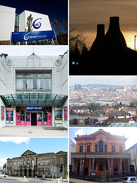 Top to bottom, left to right: Stoke-on-Trent Sixth Form College, Bottle kilns in Longton, Regent Theatre, Hanley skyline and Longton town hall Bethesda Methodist chapel