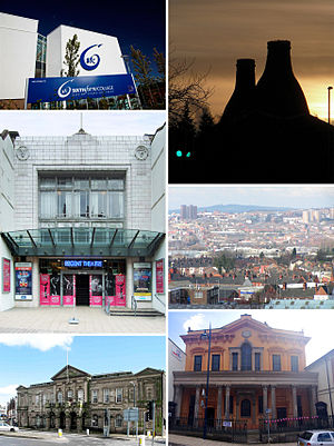 Stoke-on-Trent - (top to bottom, left to right) Stoke-on-Trent Sixth Form College, Bottle kilns in Longton, Regent Theatre, Hanley skyline, Longton town hall Bethesda Methodist chapel
