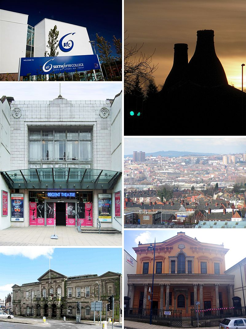 (top to bottom, left to right) Stoke-on-Trent Sixth Form College, Bottle kilns in Longton, Regent Theatre, Hanley skyline, Longton town hall Bethesda Methodist chapel