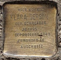 Photo of Klara Gerson brass plaque