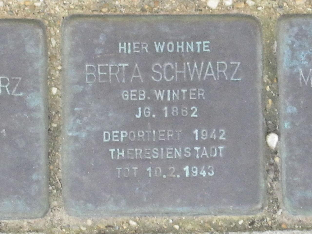 Stolperstein für Berta Schwarz