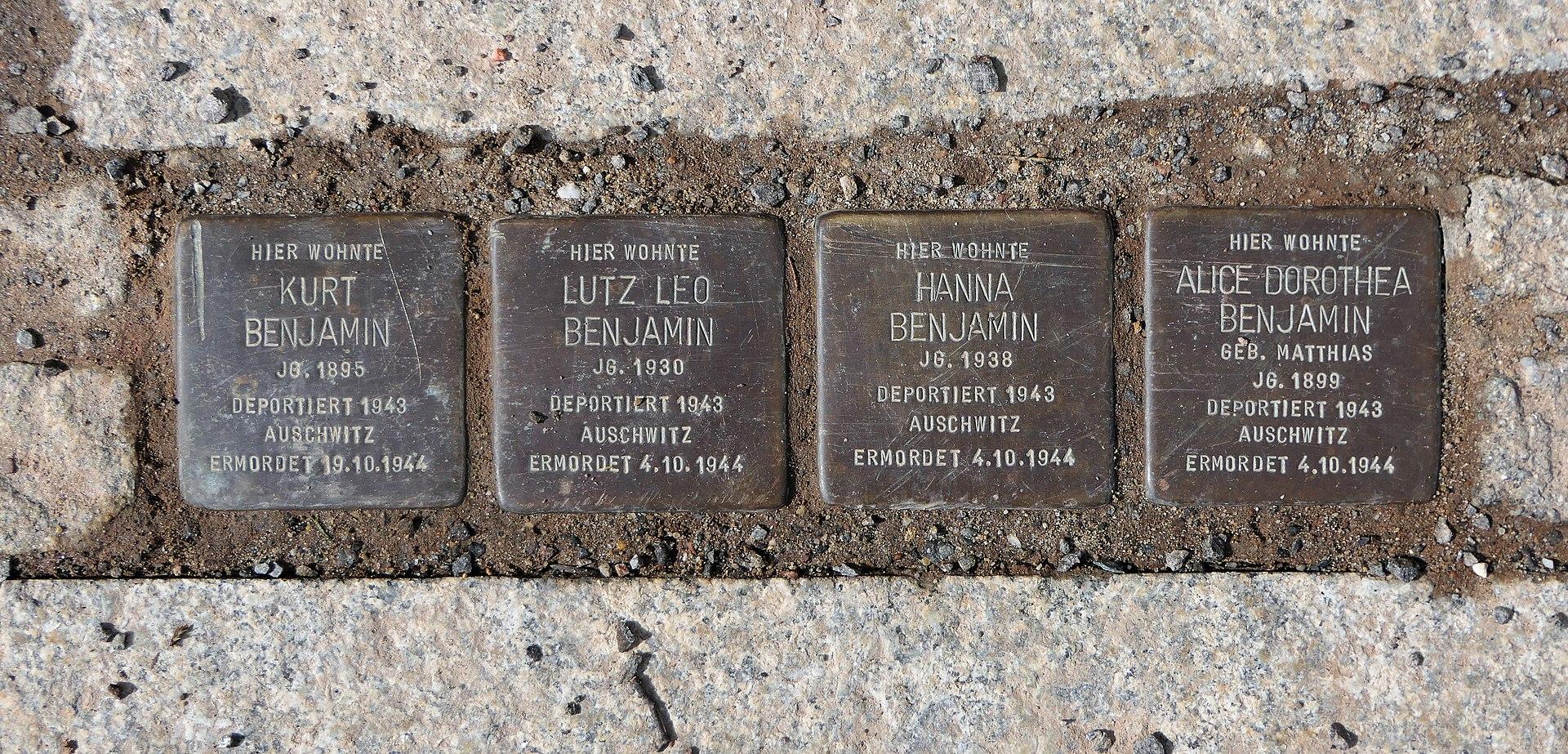 Stolpersteine für Familie Benjamin, Hohe Strasse 9, Chemnitz.JPG