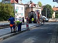 Strašnice, Průběžná, rekonstrukce TT, Dubečská, asfaltéři (01).jpg