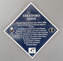 Blue plaque commemorating Stratord works.