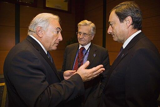 Strauss-Kahn, Trichet, Draghi (IMF 2009)