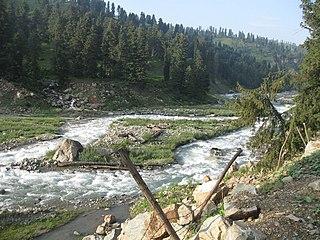 Rambi Ara river and tributary of Jhelum River in Jammu and Kashmir, India