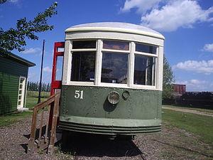 Saskatchewan Railway Museum - Saskatoon Municipal Railway streetcar No. 51 at Saskatchewan Railway Museum.