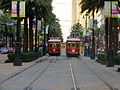 Streetcars on Canal Street in New Orleans.JPG
