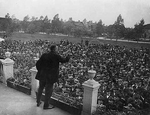 A strike leader addressing strikers in Gary, Indiana in 1919. Striker assembly.jpg