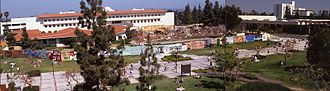 """History of San Diego State University - Early picture of """"Student Free Speech Wall"""" during protests. Spring 1991."""