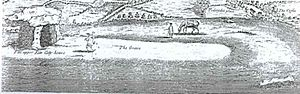Kit's Coty House - Stukeley's 1722 prospect of Kit's Coty House with its remnant long barrow still just visible and labelled 'The Grave'