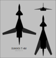 Sukhoi T-4M three-view silhouette.png