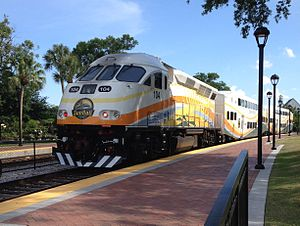 SunRail - A southbound SunRail train leaving Winter Park Station.