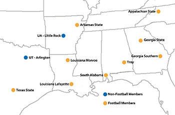 Sun Belt Conference Membership And Expansion - Us sunbelt map