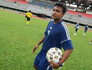 V. Sundramoorthy is a former Singapore international footballer and currently the head coach of S.League club Tampines Rovers. Sundramoorthy2.JPG