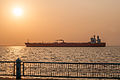 Sunrise on Vereda del Lago and Eagle Austin Ship in Maracaibo lake.jpg