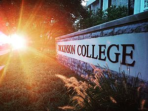 Dickinson College - Sunset outside Waidner Spahr Library.