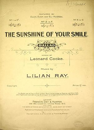 The Sunshine of Your Smile - Original sheet music from 1913
