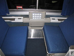 Roomette - A Superliner roomette in daytime configuration.