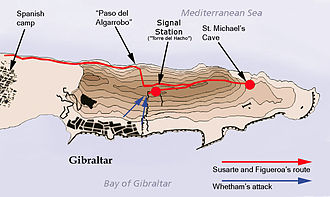 Twelfth Siege of Gibraltar - Route over the Rock of Gibraltar by the unsuccessful Bourbon surprise attack