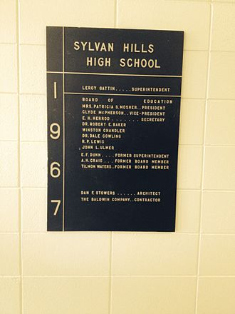 Sylvan Hills High School - Sylvan Hills High School 1967 construction placard