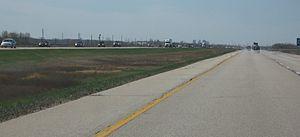 Manitoba Highway 1 - Westbound driving from Kenora, Ontario to Winnipeg, near Lorette (East of Winnipeg)