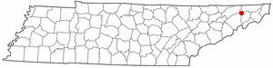 Fall Branch, Tennessee - Image: TN Map doton Fall Branch