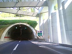 Tunnel portal and a structure supporting a cover ahead of the portal